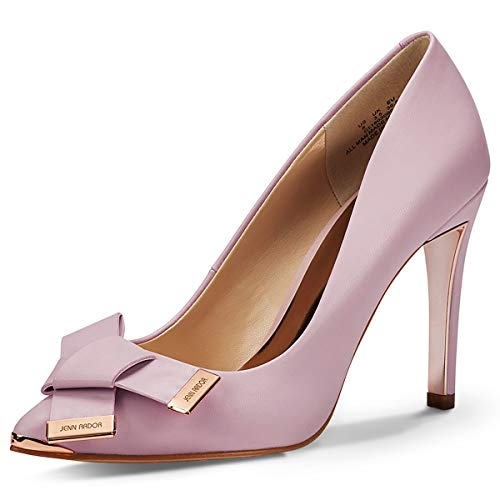 (JENN ARDOR Women's Stiletto High Heel Pumps Pointy Toe Leather Bowknot Slip On Bridal Wedding Shoes Pink 8.5 B(M) US (25.11 CM))