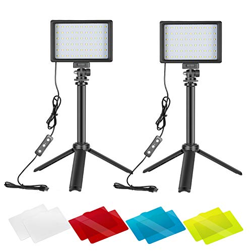 Neewer Dimmable 5600K USB LED Video Light 2-Pack with Adjustable Tripod Stand and Color Filters for Tabletop/Low-Angle…