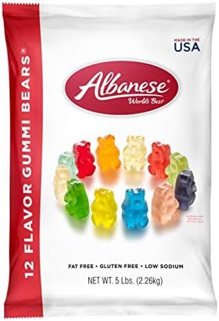 Albanese Candy 12 Flavor Gummi Bears 5 lb Bag, Assorted Gummi Bears: Cherry, Pink Grapefruit, Watermelon, Strawberry, Orange, Blue Raspberry, Lime, Grape, Green Apple, Mango, Pineapple, Lemon