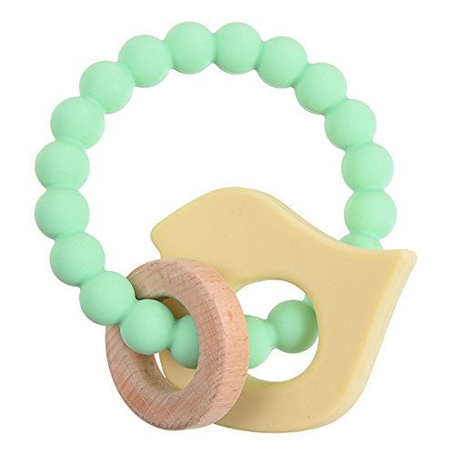 Chewbeads - Brooklyn Teether Baby Teething Toy (Baby Bird). 100% Infant Safe Chewable Silicone and Wood Teething Ring for Soothing Gums and Easing Pain from Emerging Teeth. BPA Free
