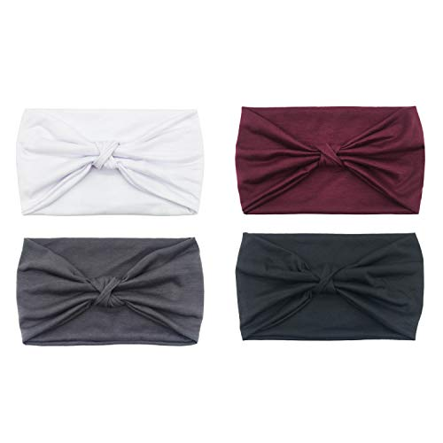 DRESHOW 4 Pack Turban Headbands for Women Hair Vintage Flower Printed Cross Elastic Head ()