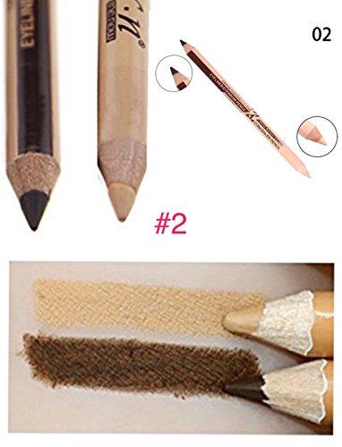 Hottie 2 in 1 Waterproof Duo Eyebrow Eyeliner and Concealer Pencil Double Ended Multifunctional Cosmetic Makeup Wonder Pencil (#2 Dark Coffee/Matte Medium Skin Tone)