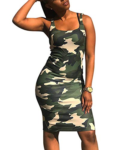 Women Sexy Bodycon Dresses Summer Camouflage Print Party Night Club Mini Tank Dress Army Green