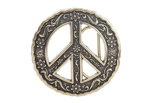 Perforated Floral Belt (Round Perforated Floral Engraving Peace Sign Belt Buckle Color: Antic)