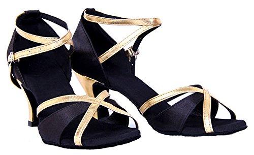 Honeystore Femmes Bout Ouvert Talon Chunky Chaussures De Danse Latine Noir