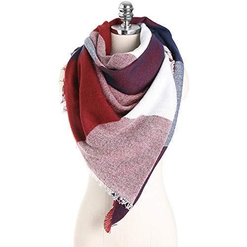 (Women Plaid Scarf Colorful Stitch Long Cashmere Wool Neck Shawl)