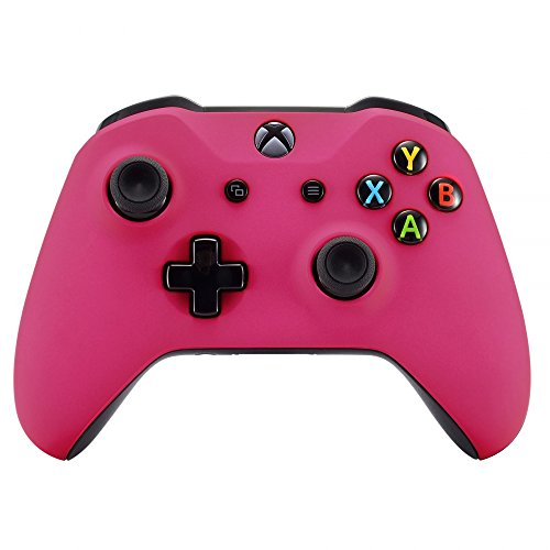 eXtremeRate Red Rose Faceplate Cover, Soft Touch Front Housing Shell Case, Comfortable Soft Grip Replacement Kit for Xbox One X & One S Controller