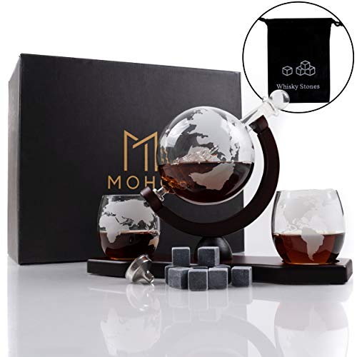 Moho Premium Whiskey Decanter   Handmade Globe Decanter Set With 2 Glasses   Durable Borosilicate   Ship In A Bottle   Perfect Gift   Liquor Dispenser for Whiskey, Bourbon, Scotch   Includes 9 Stones