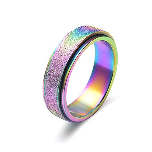 WaMLFac Titanium Steel Sand Blast Finish Spinner Band Ring for Wedding Engagement Black and Rose Gold (titanium-and-stainless-steel(6mm Rainbow), 9)