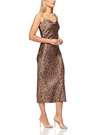 French Connection Women's Animal Print Slip Dress, Multi, Fourteen