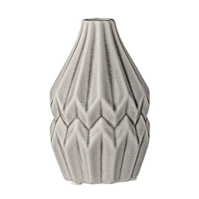 Bloomingville A27120035 Cool Grey Ceramic Fluted Vase - Colors: cool grey Materials: ceramic Measurements: 3.75L x 5.5H x 3.75W - vases, kitchen-dining-room-decor, kitchen-dining-room - 41HwgNImkFL. SS400  -