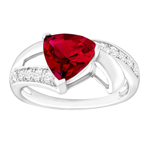 3 1/4 ct Created Ruby & White Sapphire Trillion Ring in Sterling Silver