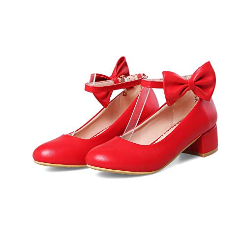 Womens Casual Solid Bows BalaMasa Red Shoes APL10488 Urethane Pumps qtPdwR