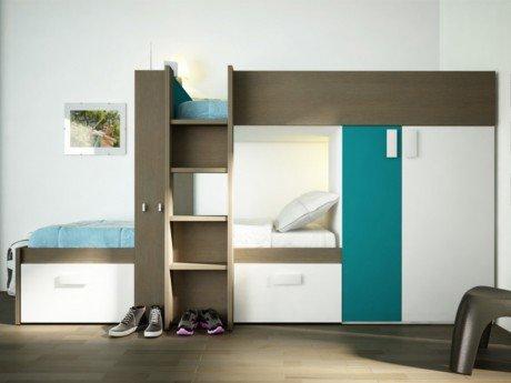 Hochbett Etagenbett Julien : Kinderbett hochbett etagenbett julien 2x90x190cm taupe & blau