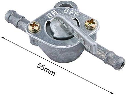 Commutateur de r/éservoir dessence de carburant Robinet dessence Petcock avec interrupteur marche//arr/êt /à deux extr/émit/és pour cyclomoteur VTT tout-terrain Argent/é