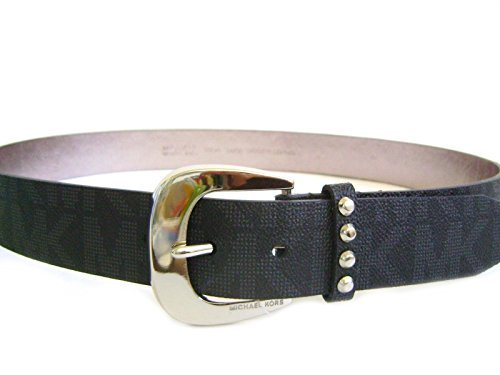 Michael Kors Mk Signature Logo Jaquard Black Belt Silver Buckle Astor Stud Loop Size Large