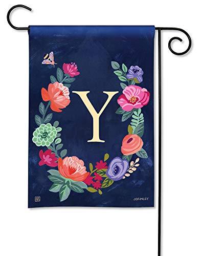 (BreezeArt Studio M Boho Flowers Monogram Y Decorative Floral Letter Garden Flag - Premium Quality, 12.5 x 18 Inches)