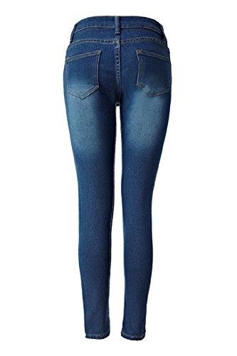Mujeres Pantalones Denim Edition Las Jeans Elásticos Basic Slim Alta Azul Fit Cintura AqBdxz7g