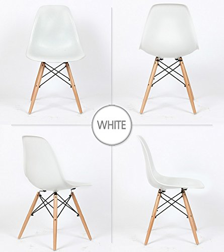 (BTEXPERT Eiffel Style Natural Wood Dowell Legs Side Dining Chair DSW, Set of 4, White)