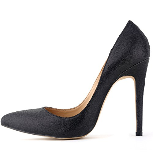 HooH Women's Bling Shiny Pinted-toe Slip Stiletto Dress Pump Black JboZX
