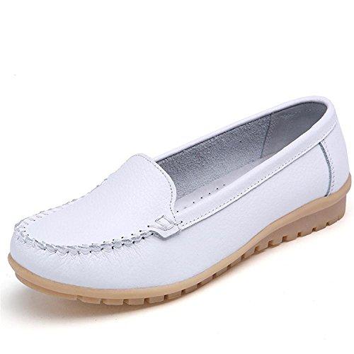 Mine Tom Mujer Chicas Moda Verano Zapatos Zapatillas De Mocasín Punta Redonda Zapatos Blanco