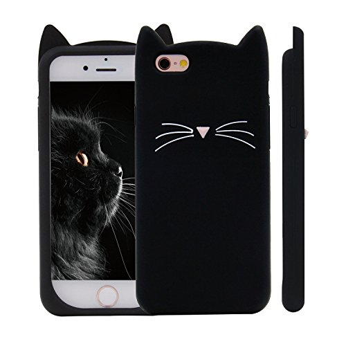Kitty Meows (iPhone 6S Case, MC Fashion Cute 3D Black MEOW Party Cat Kitty Whiskers Soft Silicone Case for Apple iPhone 6/6S (Cat-Black))