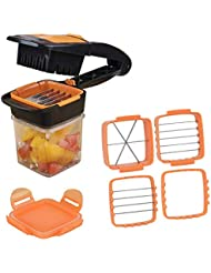 4 in 1 Vegetable Chopper Dicer, GIGRIN Work Efficient Fruit Slicer Cutter for Kitchen Picnic Camping, Chop Food Into Thick or Thin Slices, Wedges and Dices, 3 Interchangeable Stainless Steel Blades