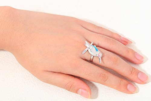 Cherryn Created Blue White Pink Opal cz engagement ring womens fashion rings