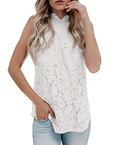 Valphsio Women Lace Floral Sleeveless Crochet Knit Vest Tank Top Shirt Blouse White, Small