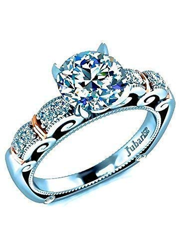 1.05Ctw Round Diamond Engagement Ring Classic Double Beaded Band Euro Shank Two-Tone Gold 14K Jubariss Custom Handmade