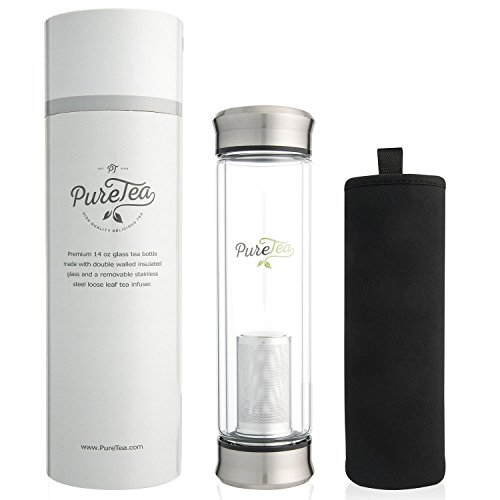 PureTea Tea Infuser Bottle w/Sleeve - Insulated Glass Tumbler Double-walled w/Stainless Steel Strainer Mesh Filter for Loose Leaf or Ice Tea, Brew Coffee, Juice, Portable & Leak Proof - 14oz Infuser
