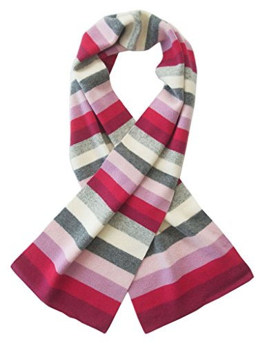 Gia John Girl's Stripped Cashmere Scarf in Pink One Size by Gia John Cashmere