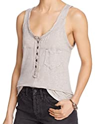 Free People Womens Medium Henley Linen Solid Blouse