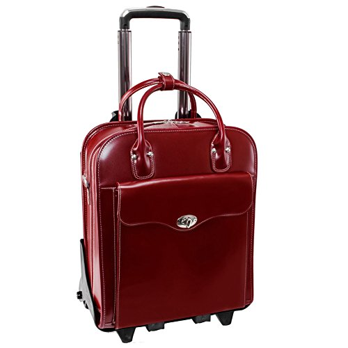 """McKlein USA Melrose 15"""" Vertical Rolling Leather Laptop Tote EXCLUSIVE (Red)"""