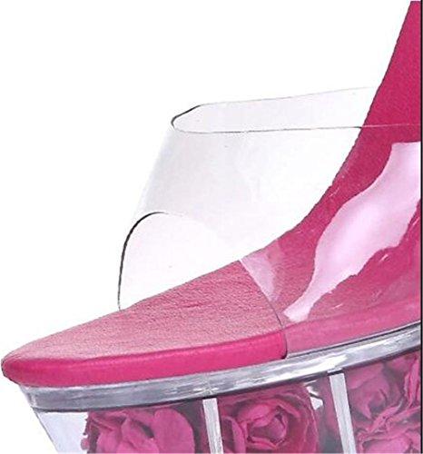 piattaforma Cristallo a Tacco Traslucido sandali Da GAOGENX a Donne Festa Fiore spillo Accendere Scarpe EU36 41 Nozze Club 35 qw00atYp