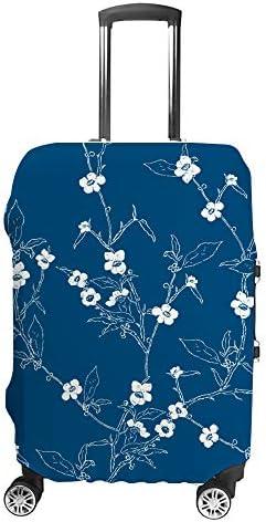 スーツケースカバー 白い桜の花 青色 伸縮素材 キャリーバッグ お荷物カバ 保護 傷や汚れから守る ジッパー 水洗える 旅行 出張 S/M/L/XLサイズ