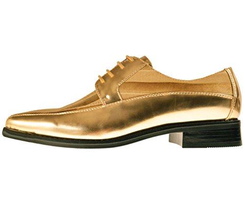 viotti mens metallic gold striped satin and patent oxford
