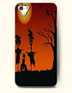 SevenArc iPhone 5 5s Case - All Hallows' Evening Two Scarecrows Cat And Jack-O'-Lantern by icecream design