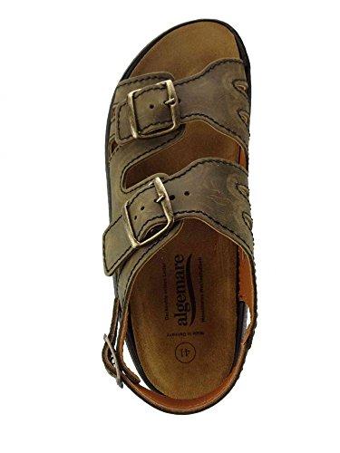Algemare Sandalette Moor Nubuk Algen-Kork Wechselfußbett Herstellung in Deutschland 7691_7878 Herrensandale, Größe:44