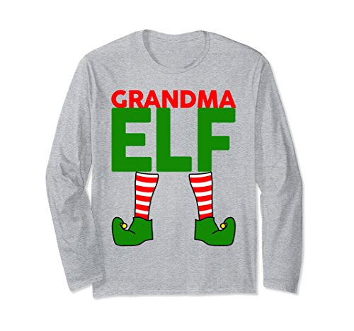 Unisex GRANDMA Funny Christmas Long Sleeve T-Shirt Small Heather Grey from Elf Family Christmas Costume Shirts 360