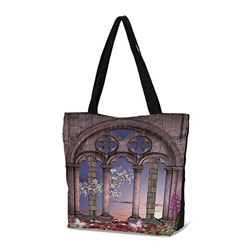 - Gothic Stylish Canvas Tote Bag,Ancient Colonnade in Secret Garden with Flowers