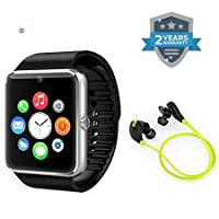 supreno™ GT08 Bluetooth Smart Wrist Watch With Camera & Sim Card Support For Android, IOS & Smart Phone with Wireless Bluetooth Earbuds V4.1 Stereo Headset Sweatproof Sports Noise Cancelling Headphones
