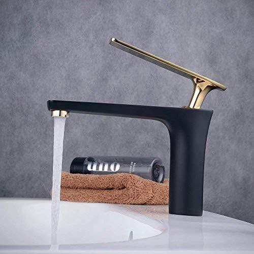 温水と冷水洗面器の蛇口真鍮の浴室のシンクの蛇口のデザインスタイル、黒,B