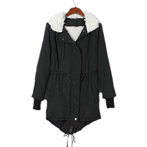 Dethler Womens Hooded Parka Jacket Faux Fur Thermal Winter Coat