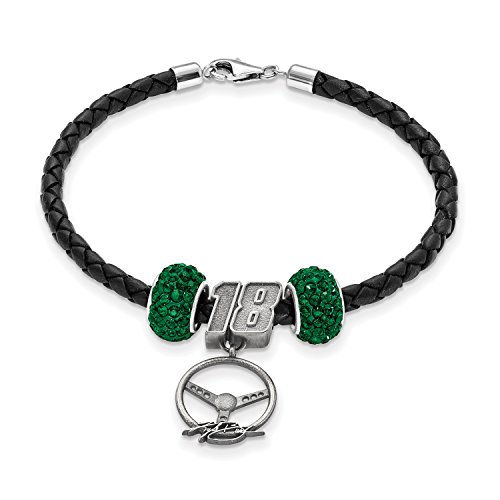 SS LEATHER BRACELET W/TWO DARK GREEN CRYSTAL BEADS 18 BEADSTE