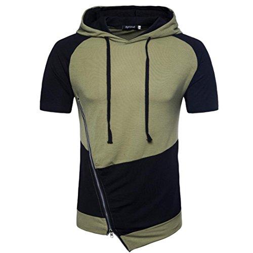 YJYdada Men's Summer Zipper Casual Patchwork Hooded Short Sleeve T-Shirt Top Blouse (Green, M)