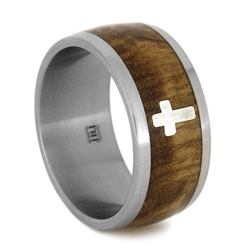 Sterling Silver Cross, Black Ash Burl Wood 10mm Comfort-Fit Matte Titanium Wedding Band, Size 12.75