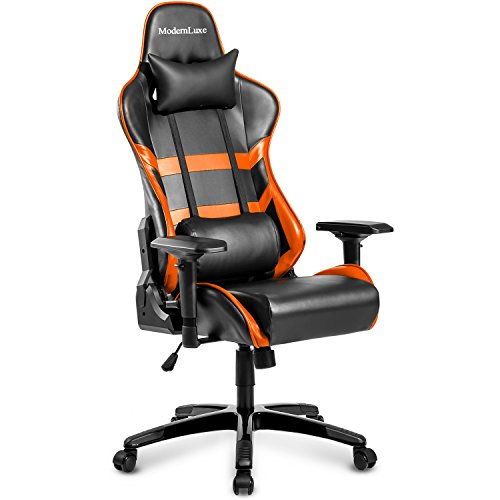 Modern Luxe Racing Gaming Office Chair Executive High Back Reclining Chair Lumbar Support Ergonomic with Headrest (orange) Review