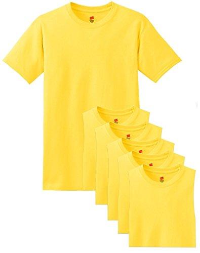 Hanes Men's Comfortsoft 6 Pack Crew Neck Tee - Yellow - XL