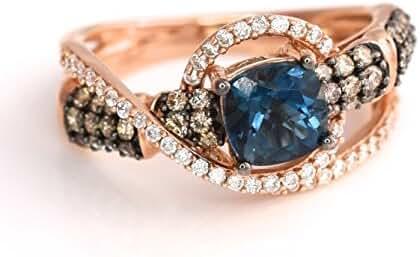 LeVian Deep Sea Blue Topaz Ring Chocolate and Vanilla Diamonds 1.63 cttw 3D Gladiator Criss Cross 14K Rose Gold Size 7